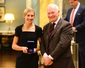 Sasha Gollish with Governor General David Johnston. Gollish was named one of the Top 8 Academic All-Canadians earlier this week. (Photo: Sgt Ronald Duchesne, Rideau Hall, OSGG)