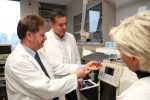 Professor Robert C Andrews (left) with Profs. Ron Hofmann and Susan Andrews in the Drinking Water Environmental Labs